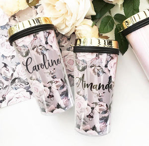 Rose Garden Monogram Travel Mug - Lucky Maiden