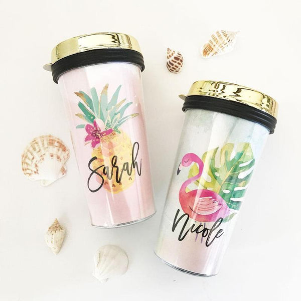 tropical theme travel tumbler