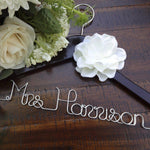 wedding dress hanger with name and date