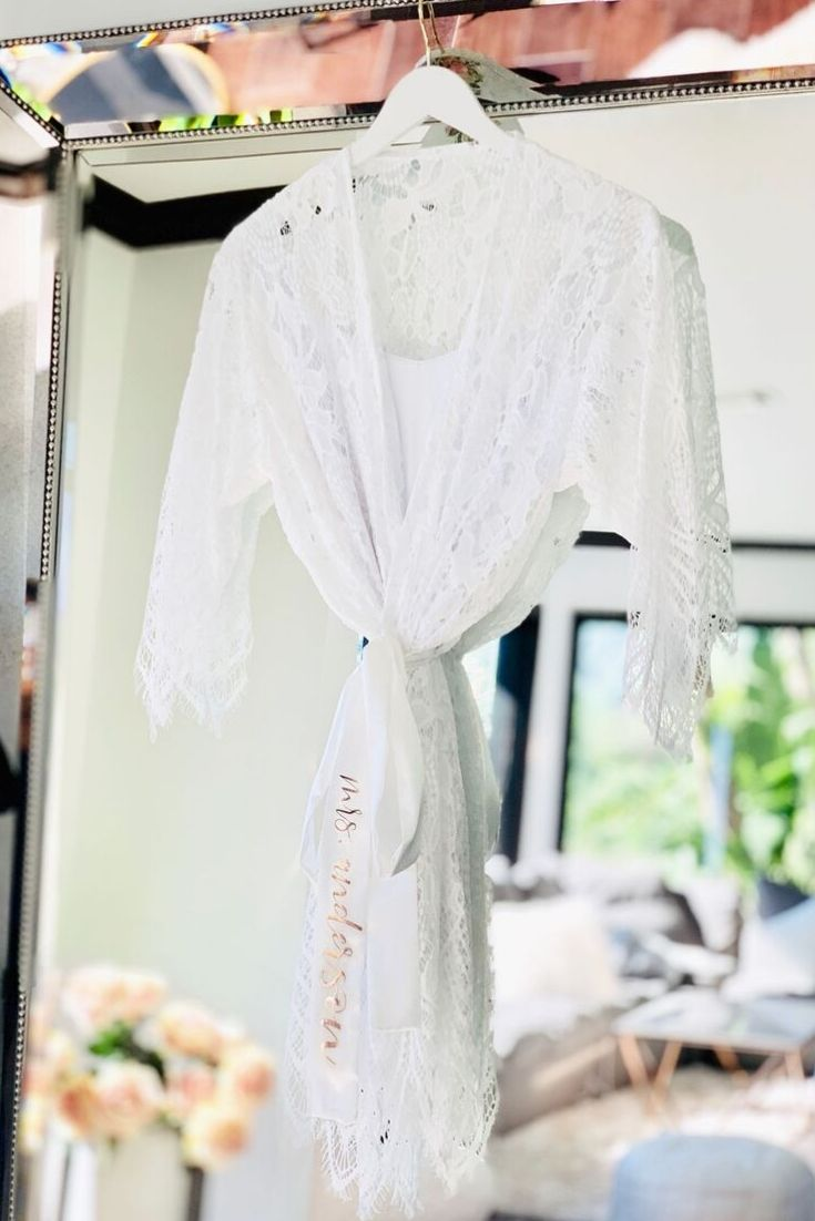 Bridal Robe with Lace - Lucky Maiden - Lucky Maiden