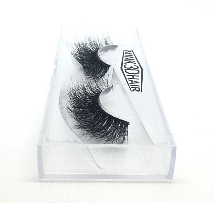 3D Mink Eyelashes - A11. Long Thick Wispy Lashes Side View - Dramatic Eyelashes