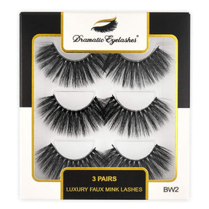 BW2: Multipack (3 Pairs) 3D Luxury Faux Mink Dramatic Eyelashes - Dramatic Eyelashes
