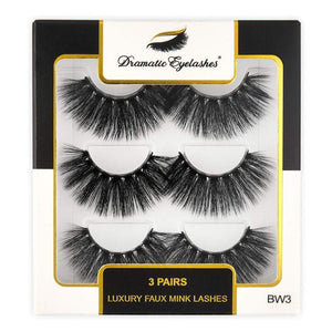 BW3: Multipack (3 Pairs) 3D Luxury Faux Mink Dramatic Eyelashes - Dramatic Eyelashes