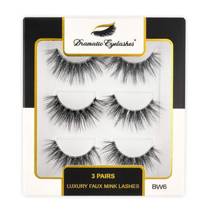 BW6: Multipack (3 Pairs) 3D Luxury Faux Mink Dramatic Eyelashes-Dramatic Eyelashes