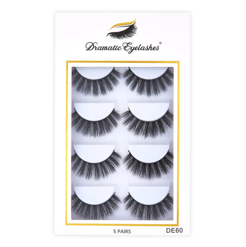DE60 in box: Multipack (5 Pairs) 3D Mink Fluffy Doll Eyelashes -Dramatic Eyelashes