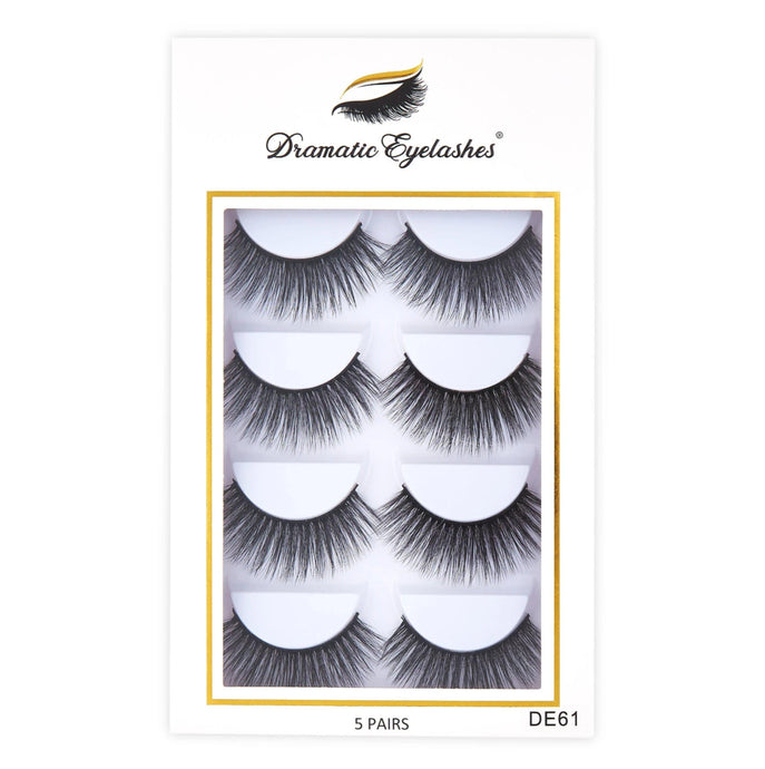 DE61 box: Multipack (5 Pairs) 3D Mink Long Light Eyelashes - Dramatic Eyelashes
