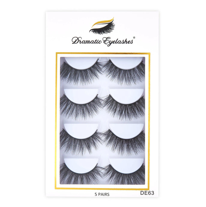 DE63 Box: Multipack (5 Pairs) 3D Mink Cat Shape Light Fluffy Winged Eyelashes - Dramatic Eyelashes