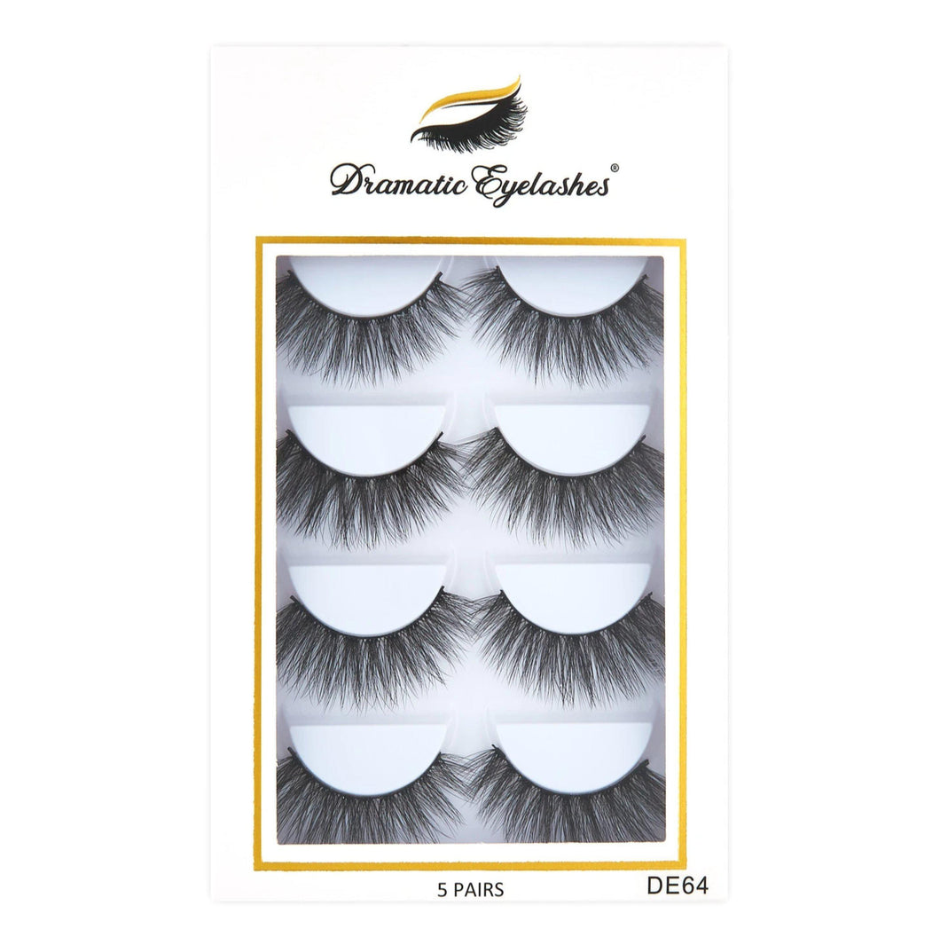 DE64 box: Multipack (5 Pairs) 3D Mink Eyelashes-Eyelashes-Dramatic Eyelashes