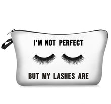 Load image into Gallery viewer, Makeup Cosmetic Bag - I'm Not Perfect But My Lashes Are