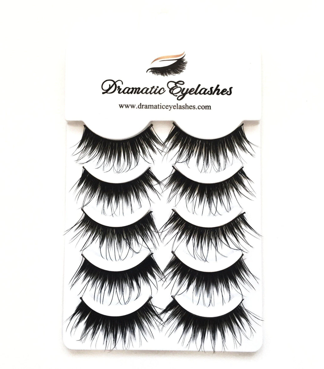Multi-Pack (5 Pairs) Dramatic Long Wispy False Black Eyelashes-Eyelashes-Dramatic Eyelashes