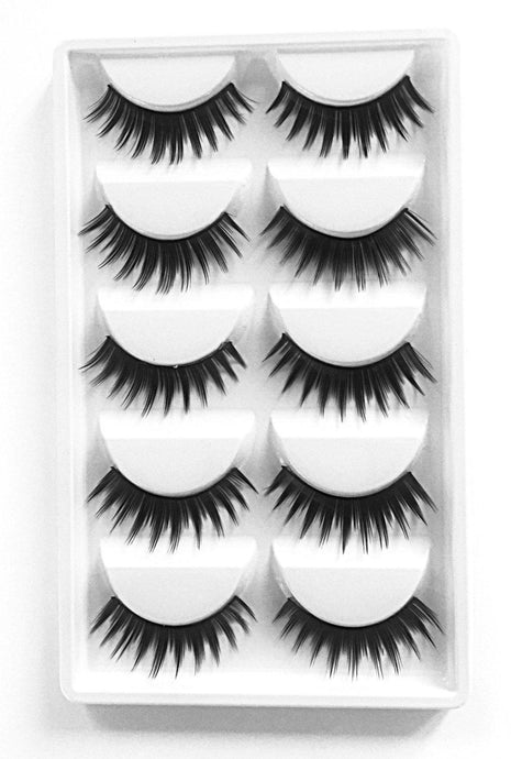 Multi-Pack (5 Pairs) False Black Synthetic Eyelashes-Eyelashes-Dramatic Eyelashes