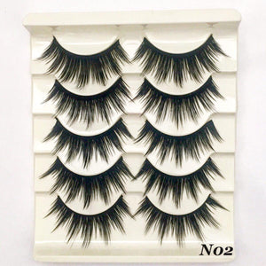 N02: Multi-Pack (5 Pairs) Dramatic False Black Eyelashes - Dramatic Eyelashes
