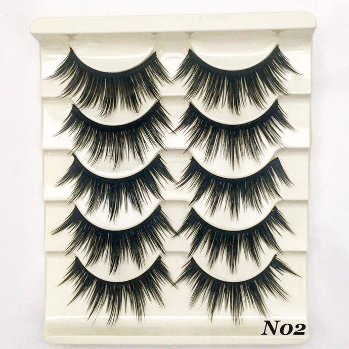 N02: Multi-Pack (5 Pairs) Dramatic False Black Eyelashes-Eyelashes-Dramatic Eyelashes