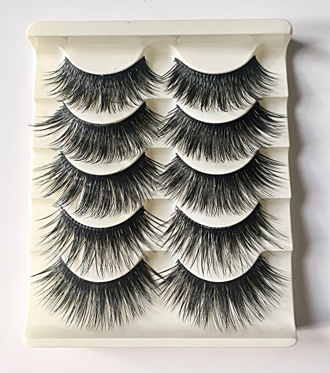N10: Multi-Pack (5 Pairs) False Dramatic Thick Eyelashes - Dramatic Eyelashes