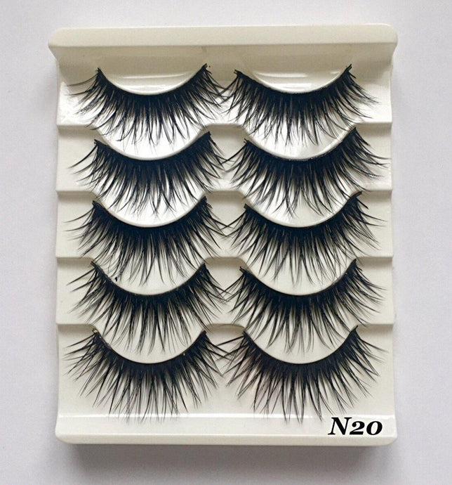 N20: Multi-Pack (5 Pairs) False Black Wispy Eyelashes-Eyelashes-Dramatic Eyelashes
