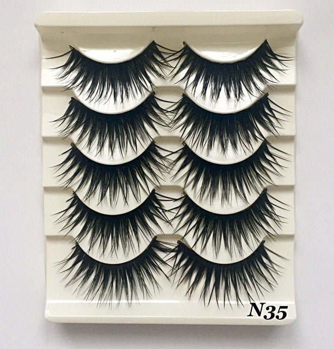 N35: Multi-Pack (5 Pairs) False Black Eyelashes-Eyelashes-Dramatic Eyelashes