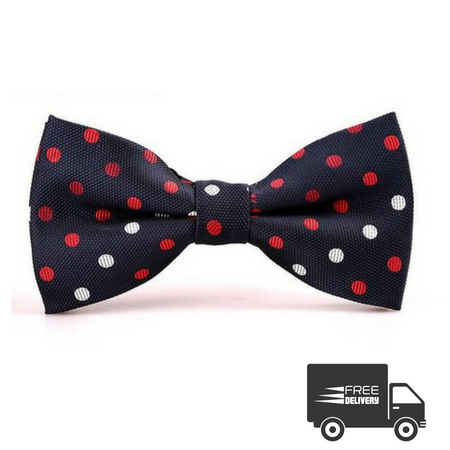 Blue and Red Polka Dots Bow Tie