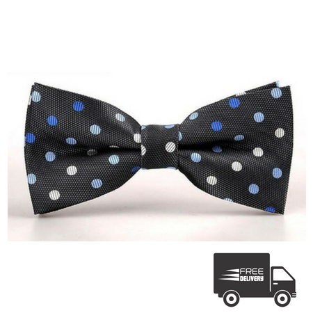 Black Polka Dots Bow Tie