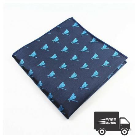 Blue Dragonfly Pocket Square
