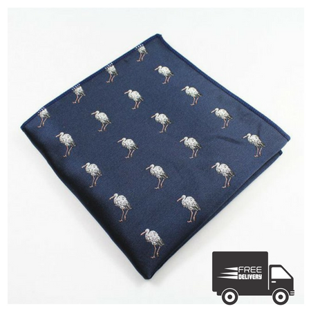 Navy Blue Flamingo Pocket Square