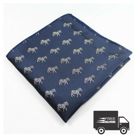 Blue Zebra Pocket Square