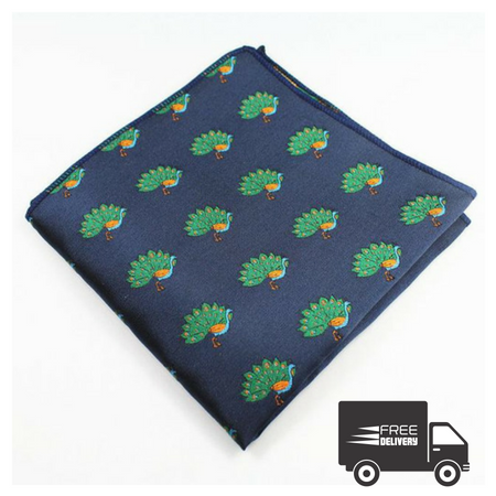 Navy Blue Peacock Pocket Square