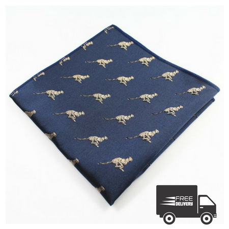 Navy Blue Cheetah Pocket Square