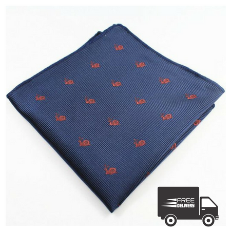 Navy Blue Snail Pocket Square