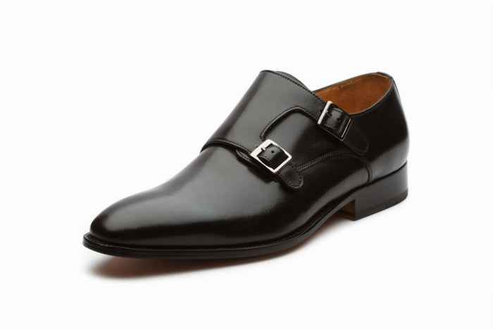 Plain Toe Double Monkstrap - Black