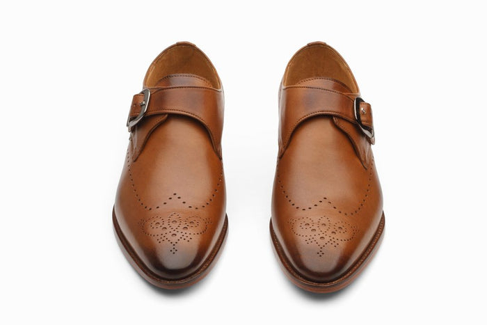 Single Strap Brogue Monk - Tan