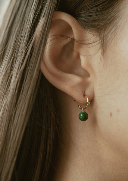 emerald and malachite drop hoops