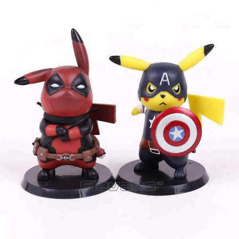 Figurine Funko Pop Comics - Pikachu Deadpool & Captain america Wopilix