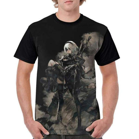 Nier Automata T-Shirt - Black Graphic Wopilix