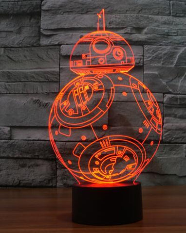 Star Wars 3D LED Light - Visual illusion Wopilix 7color bb8