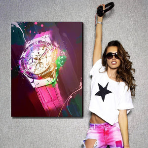 Hublot Inspired Series - Pink And Bling Edition - Canvas Wall Art - Boss Lady Entrepreneur Female Boss Luxury Lifestyle Watches - $79.00