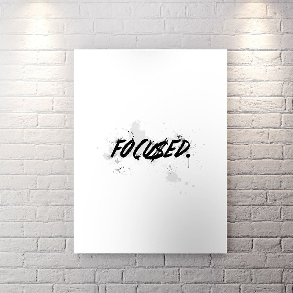 Wht Collection - Focu$Ed - Canvas Wall Art - Boss Entrepreneur Focused Grind Motivational - $79.00
