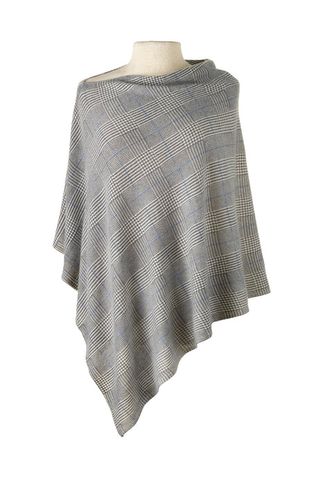 Glen Plaid Printed Cashmere Cape