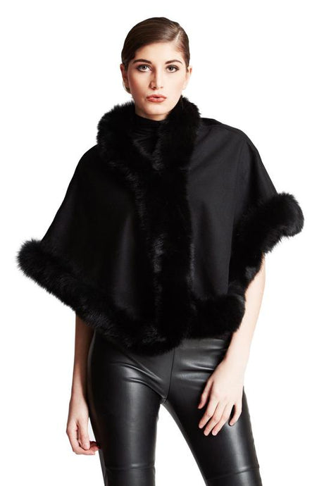 Cashmere Short Cape w/Fox Trim