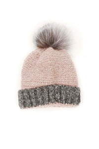 Knitted Wool Beanie Hat with Detachable Pom Pom
