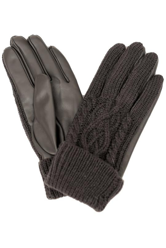 Wool Knit Leather Gloves