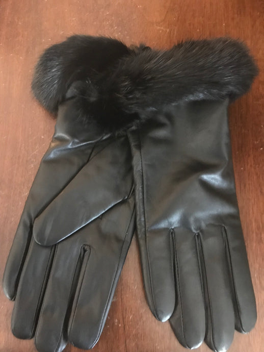 Leather Gloves Trimmed with Mink