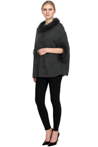 Wool Blend Poncho with Fox Collar and Cuffs