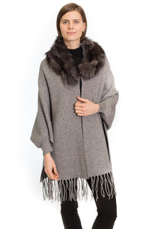 Cashmere Blend Cape with Sleeves and Silver Fox Trim