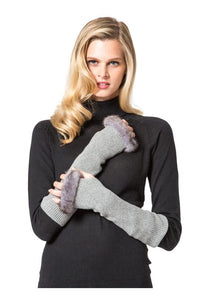 Cashmere Fingerless Gloves with Mink Trim