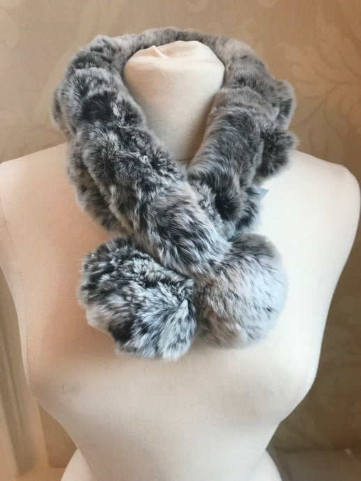 Small Rex Rabbit Scarf with PomPom
