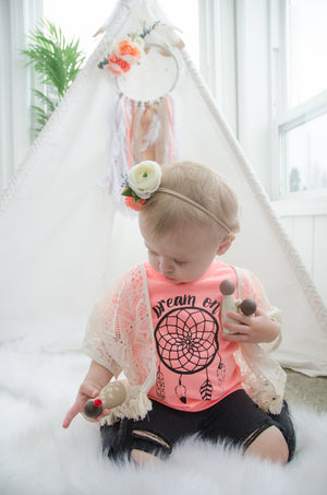 Dreamcatcher Dream Catcher Tent First Birthday Milestone Session Boho Girly Chic Custom Handmade Flowers Nursery Newborn Baby Infant Toddler
