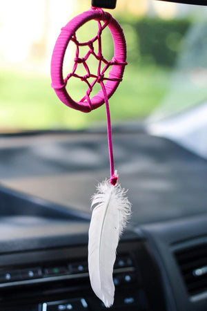 hot pink fuschia dreamcatcher dreamer dream catcher mini car rearview mirror auto driving feather white talisman mini tiny small miniature bobo bohemian bobo vibes
