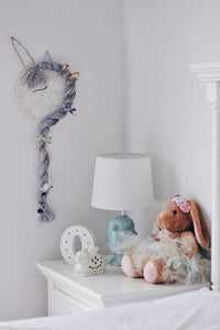 unicorn wall little girl's bedroom princess purple bows dreamcatcher inspirational prints nursery