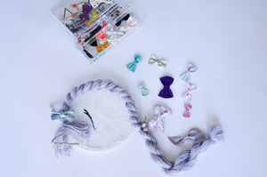 unicorn bows bow storage unicorn mane lavender purple headbands clips