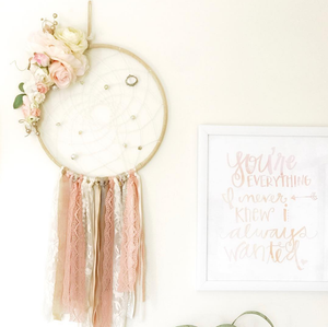 extra large huge enormous dream catcher dreamcatcher lace vintage inspired flowers floral nursery bedroom pink gold blush ivory roses mobile